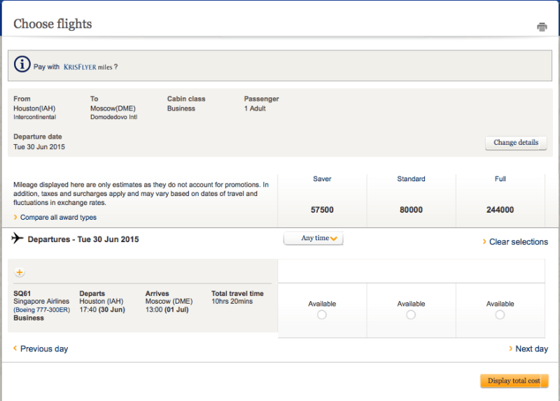 There is a ton of award availability on the Houston-Moscow route.