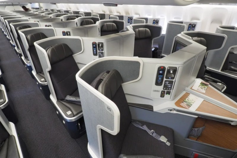 Business class on AA's 777-300ER. I was welcomed on board early after explaining that I hoped to photograph the cabin for a review.