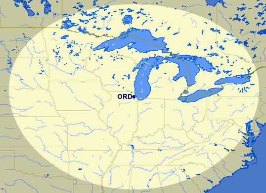 Just about every Midwestern city (and many Southeastern ones too!) are within 650 miles of American's hub at Chicago O'Hare