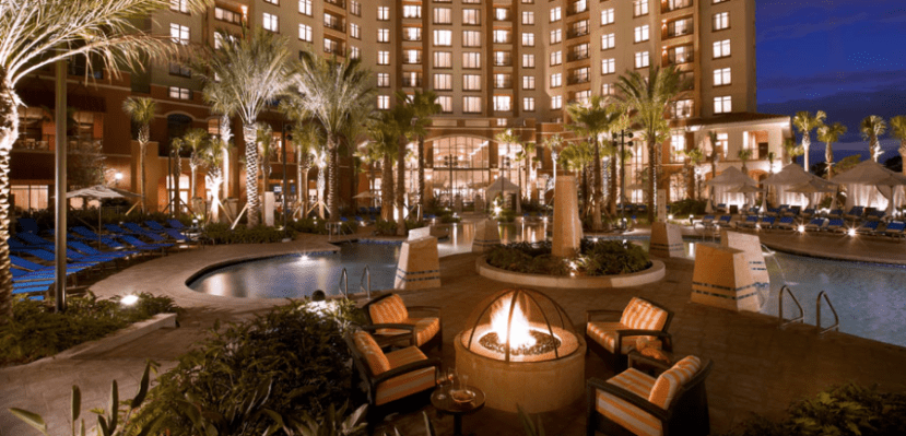The pool area and fire pit at the Wyndham Grand Orlando Resort Bonnet Creek
