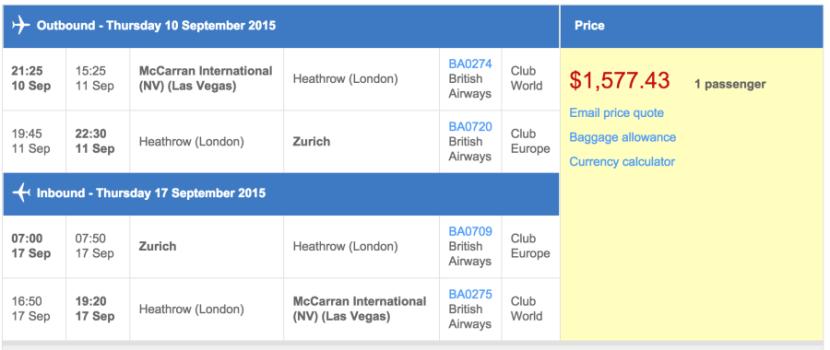 Las Vegas (LAS) to Zurich (ZRH) in business class on British Airways for $1,577.