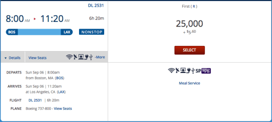 Boston to Los Angeles (a 6+ hour flight) available at Level 1 and thus upgradeable with miles.