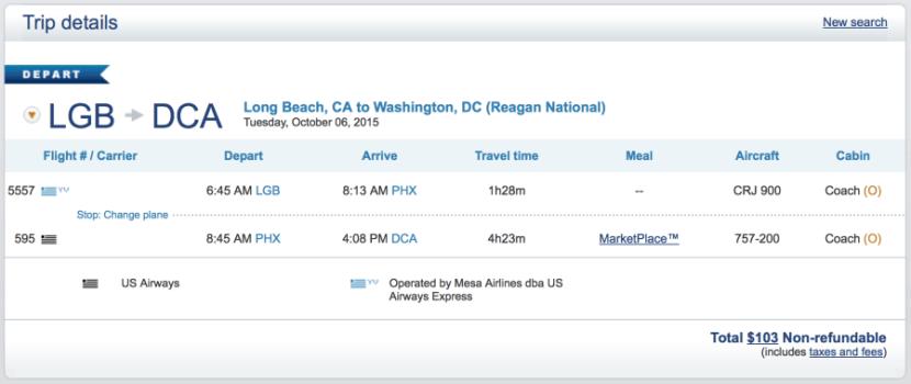 Long Beach to Washington, D.C. for $103 one-way.