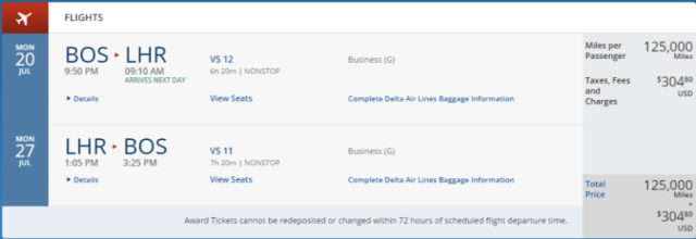 Boston to London in business class,