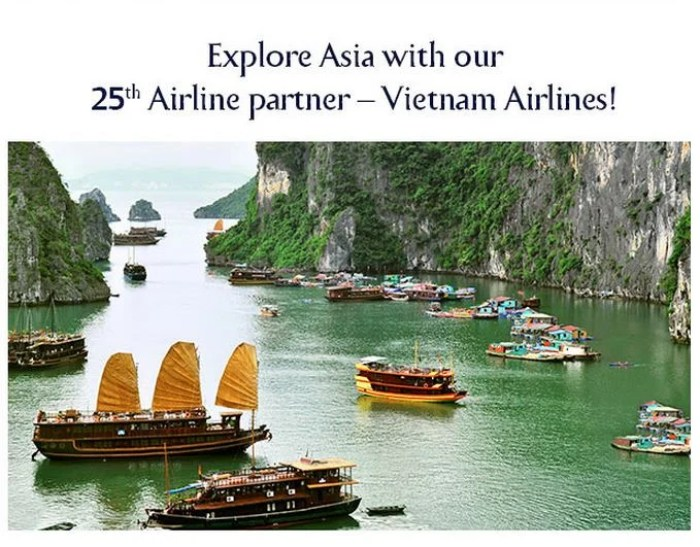 Vietnam and Jet Airways are partners