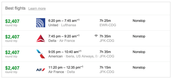 Last-minute economy-class fares on major airlines.