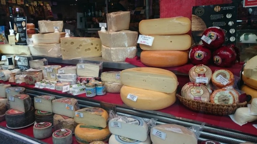 Cheeses galore at the San Miguel market.