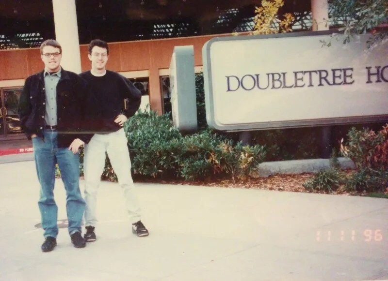 Just a couple of dudes hanging outside the DoubleTree in Tulsa.