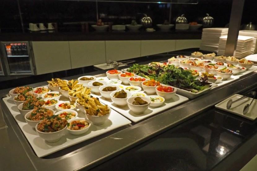 The salad bar at Etihad's Sydney lounge.