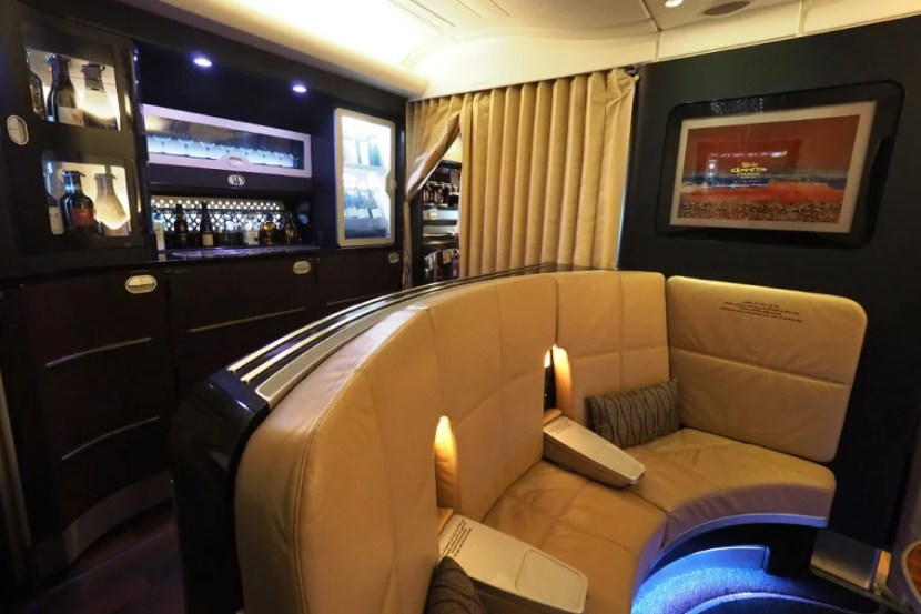 """Unlike on Emirates' A380, you can do little more than window shop at Etihad's """"bar."""""""