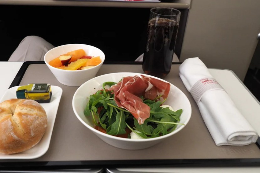The pre-landing meal included a rocket salad with optional prosciutto.