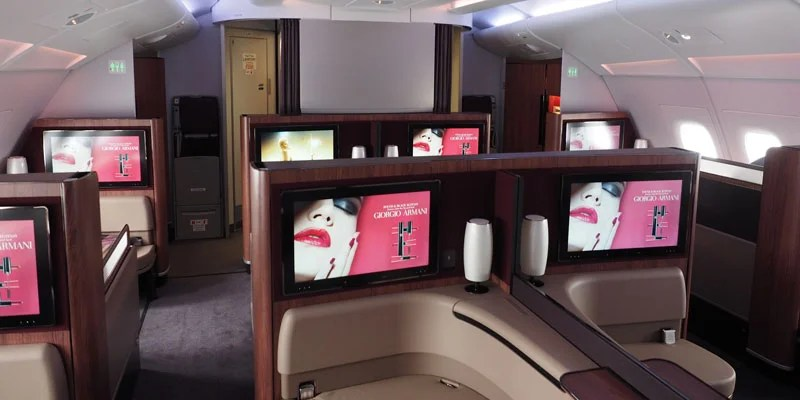 The Qatar first-class cabin —all to myself.