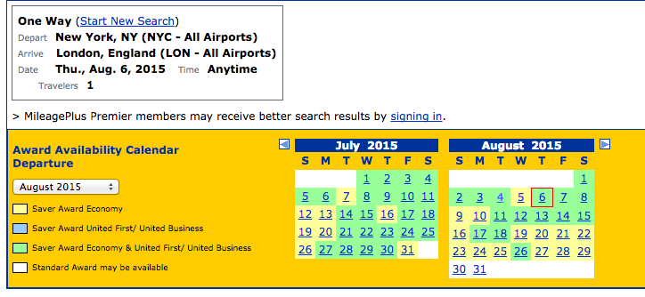 Even in peak summer travel season, almost every day in July and August have a saver seat available through United.