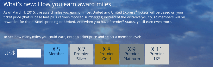 United's new earning structure in the revenue based program.