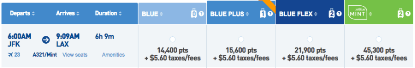 Redeem TrueBlue points at 1.3 cents/point towards a transcon Mint ticket.