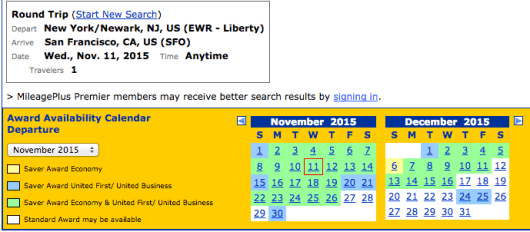 Availability for Newark to San Francisco on United's p.s. fleet continues to be solid.