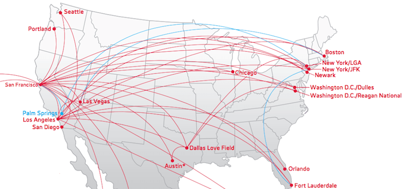 Virgin America flies to California from Florida, Washington, Boston and New York.