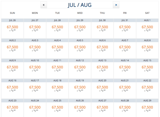 Delta One is available essentially every day on the bookable schedule for 67,500 miles each way.
