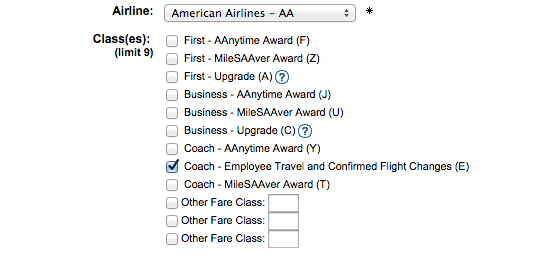 ExpertFlyer displays E inventory on American using the Award & Upgrade search.