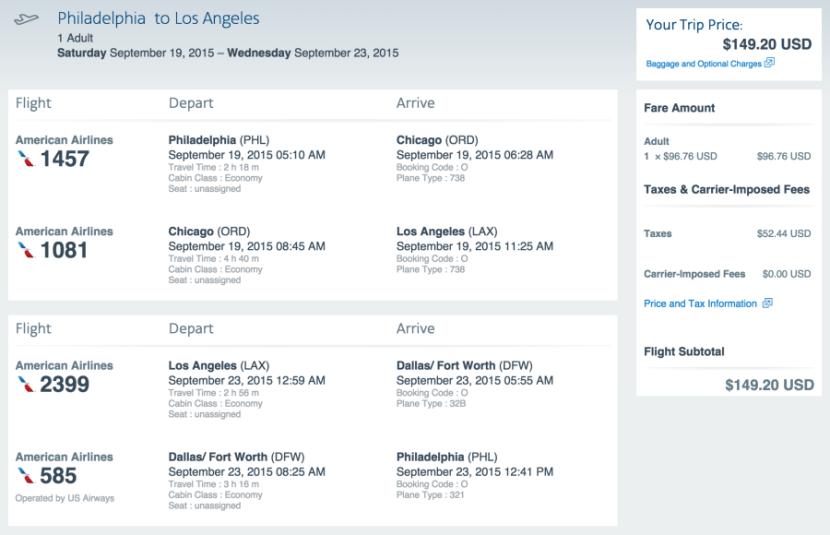 Philadelphia to Los Angeles for $149 on AA.