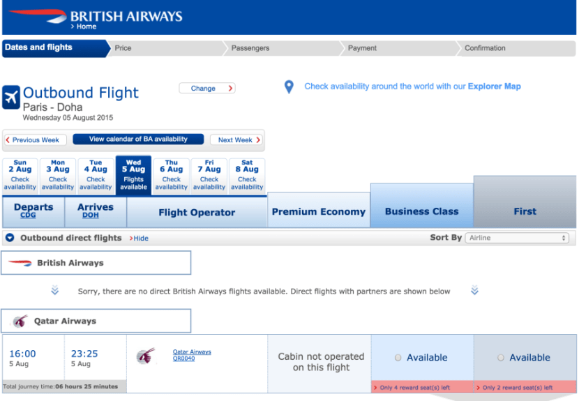 Search for Qatar award availability on British Airways' site.