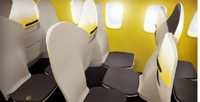 Airline seats that face each other...this could get awkward. Photo courtesy of Zodiac Aerospace