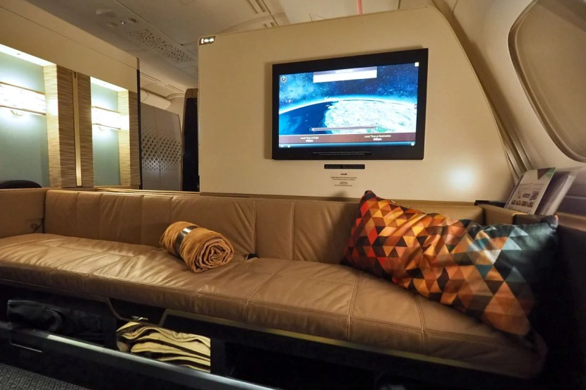 The enormous sofa is large enough to accommodate three guests.