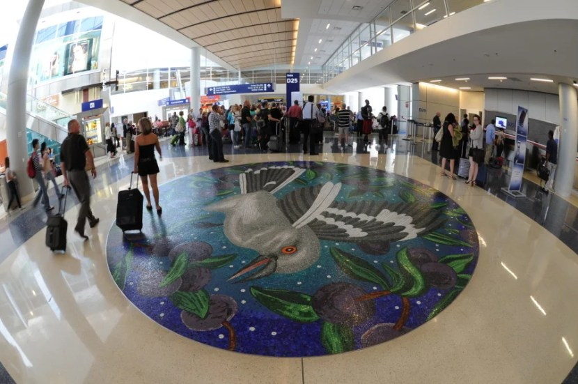Floor medallion inside DFW. Photo courtesy of Dallas/Fort Worth International Airport.