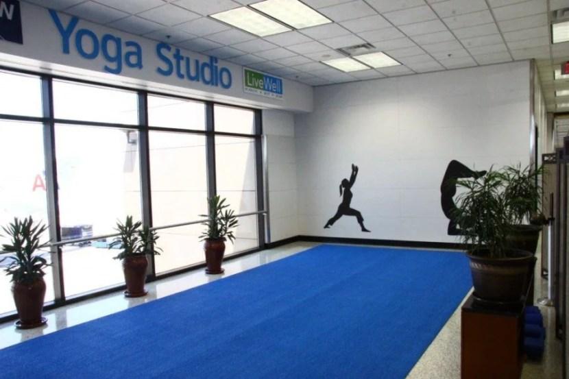 Yoga studio at DFW airport, between Terminals B and D.