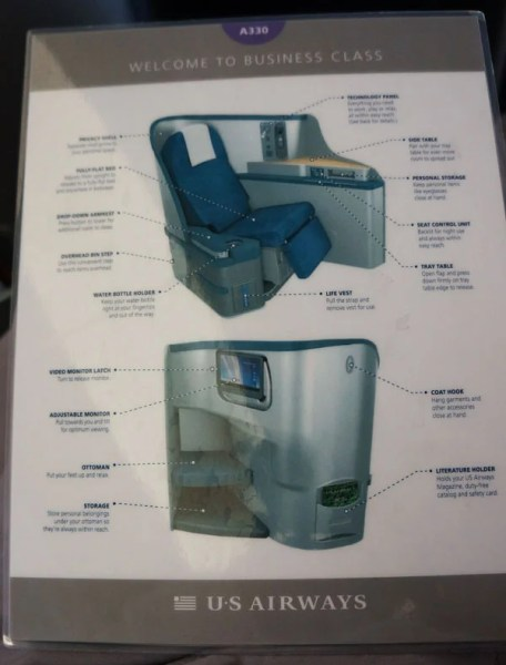 If you like reading about your own seat while you're sitting in it, you're in luck —mUS Airways provides you with a laminated guide to peruse.