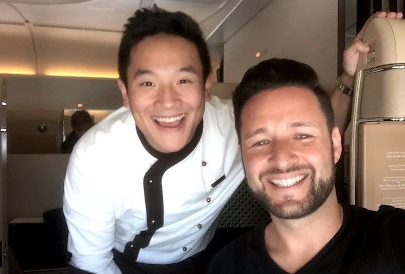 Selfie with Ben, the first-class chef on my flight.