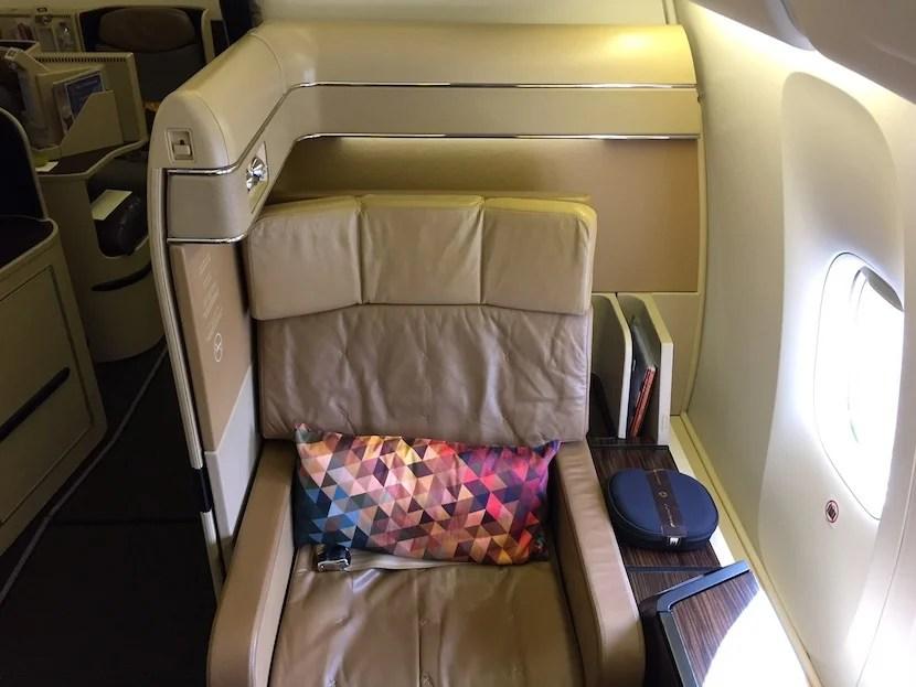 By contrast, the 777-300ER has four seats across each row.