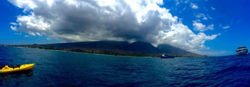 Looking back at Maui from our kayaks.