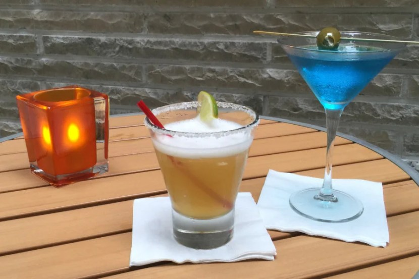 A Perfect Patron Margarita ($14) and The Sky is Blue Martini ($12).