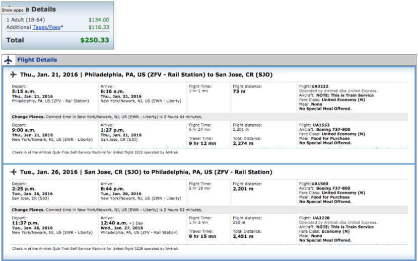 Philadelphia (Amtrak station) to San Jose, Costa Rica for $250 in January on United.