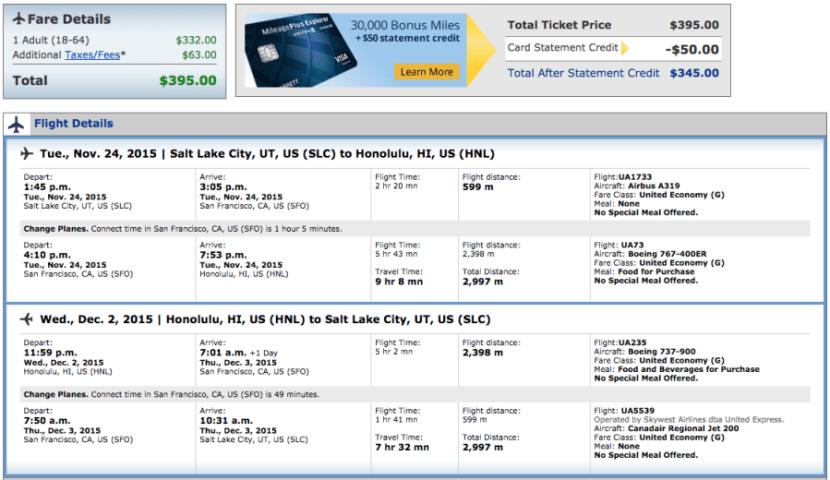 Salt Lake City to Honolulu for $395 over Thanksgiving on United.