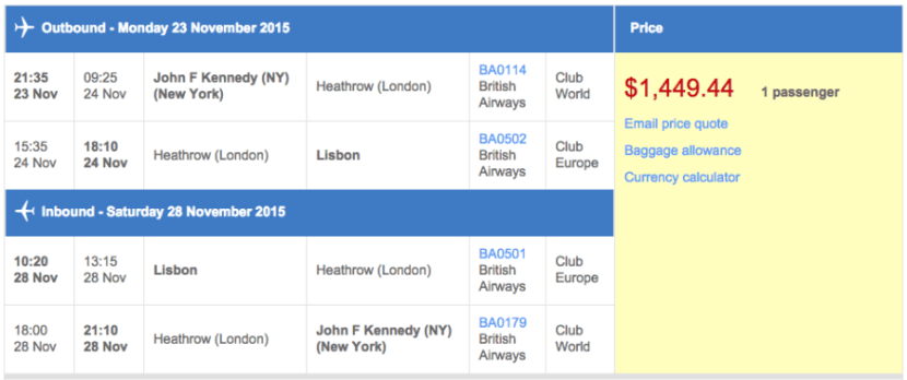 New York (JFK) to Lisbon (LIS) in business class on British Airways for $1,449.