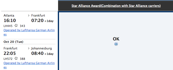 The next screen shows you the Star Alliance flights for your award route.