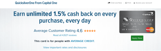 The Capital One Quicksilver earns an everyday return of 1.5%.