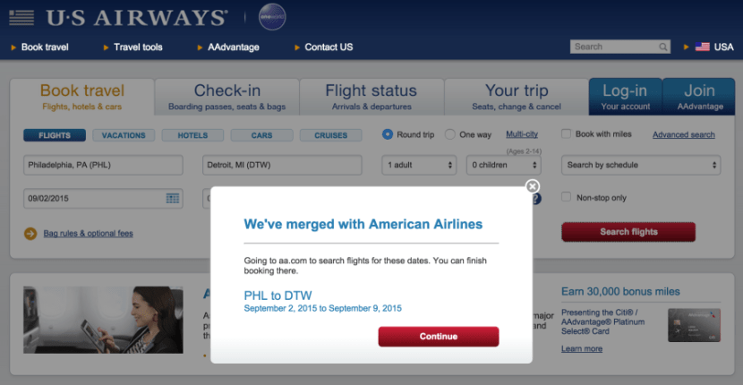 This is what you'll see when trying to book through USAirways.com.
