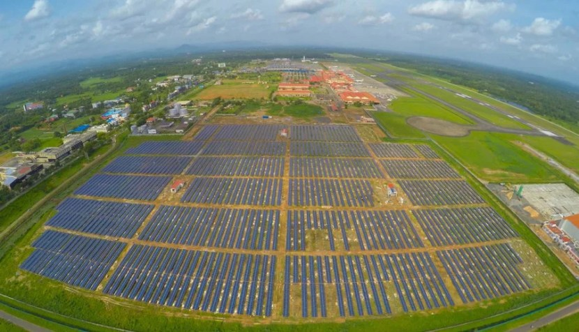 The array is spread across 45 acres and produces 12 megawatts of power. Photo credit: The NewsMinute.