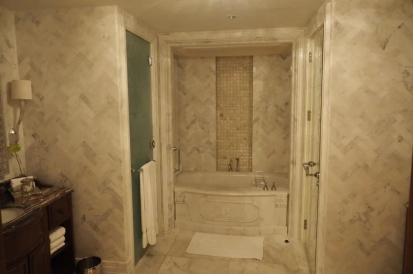 Marble everywhere; very regal and roomy.