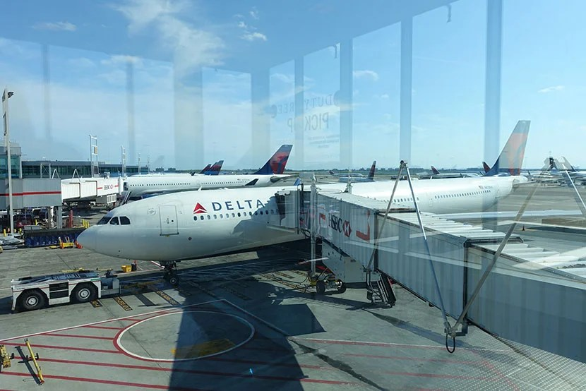 Delta's A330 parked at the gate.