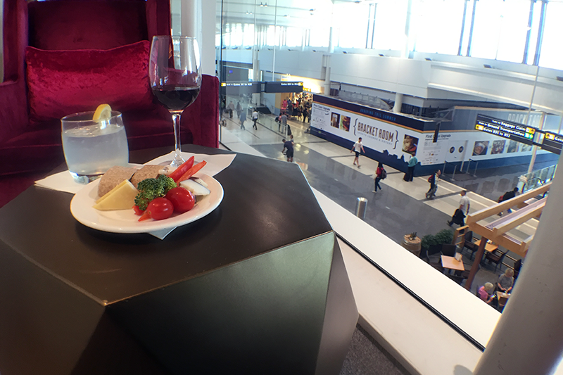 You can enjoy a glass of wine with light hors d'oeuvres while people-watching from the lounge.