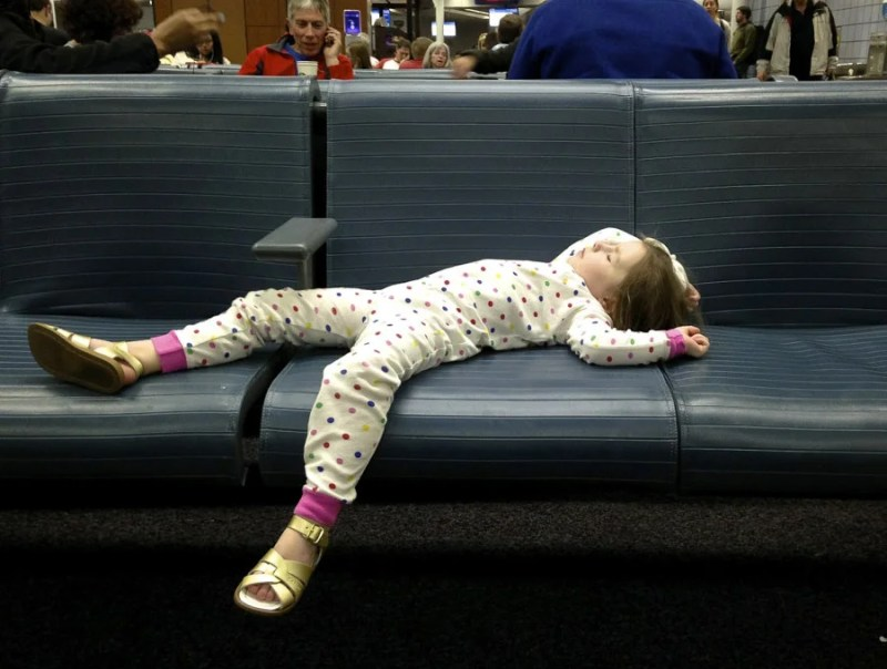My oldest daughter has learned to sleep anywhere.