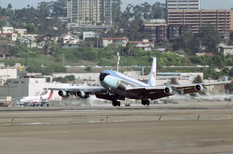 Landing at San Diego International Airport. Photo courtesy: Reagan Foundation.