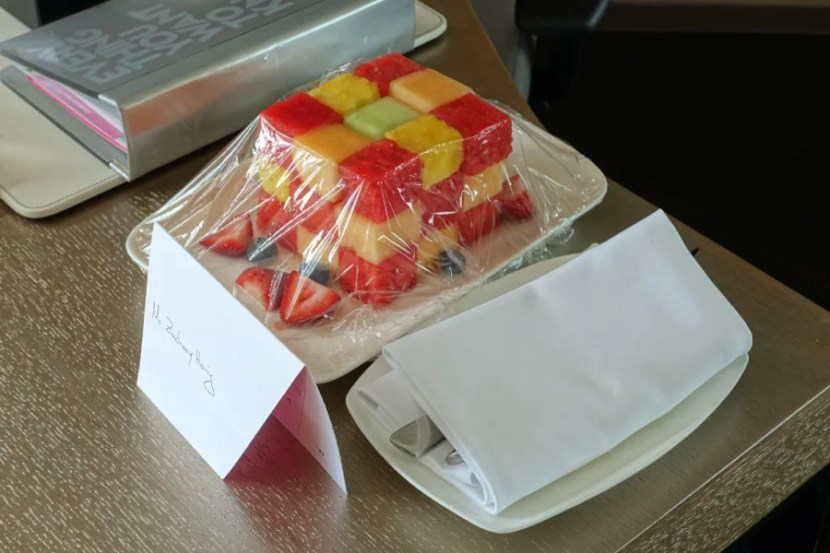 """""""Fruit cube"""" welcome amenity."""