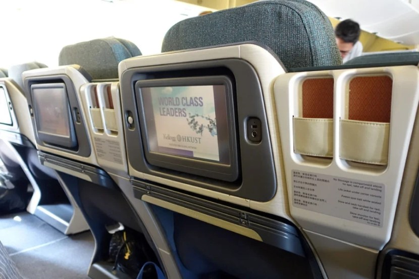 Each seat has a 12.1-inch touchscreen IFE system.