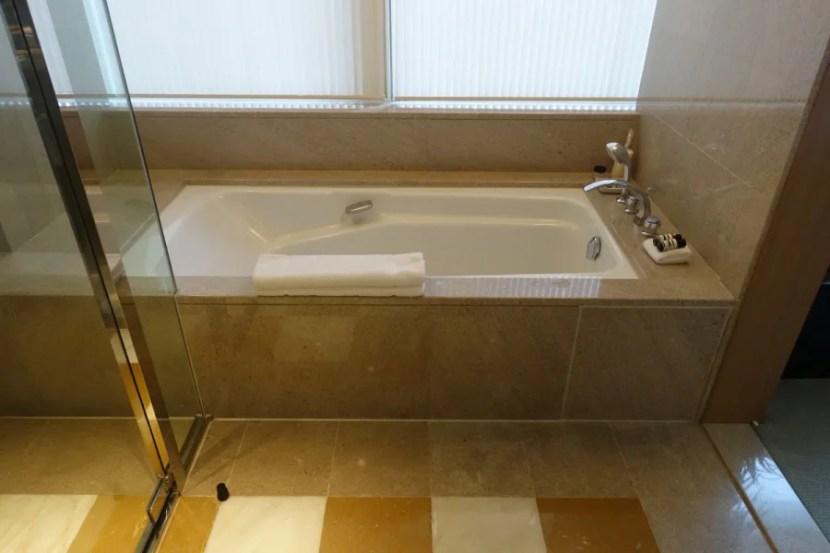 Park suites have a large standalone bathtub.