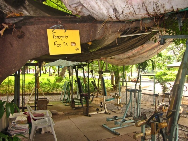 Get a workout in at the outdoor (antiquated) gym